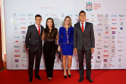 LIVERPOOL, ENGLAND - Tuesday, May 9, 2017: Liverpool's Philippe Coutinho Correia with wife Aine and Roberto Firmino and his wife Larissa Pereira arrive on the red carpet with their partners for the Liverpool FC Players' Awards 2017 at Anfield. (Pic by David Rawcliffe/Propaganda)