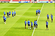 Colchester Team On Pitch Before Match during the EFL Sky Bet League 2 match between Doncaster Rovers and Colchester United at the Keepmoat Stadium, Doncaster, England on 15 October 2016. Photo by Craig  Goddard.