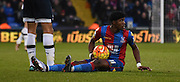 Wilfied Zaha looks for the decision during the Barclays Premier League match between Crystal Palace and Tottenham Hotspur at Selhurst Park, London, England on 23 January 2016. Photo by Michael Hulf.