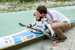 Winner in K1 women: Sixtine Malaterre of France at final sprint race of European wildwater Canoeing Championships Soca 2013 on May 12, 2013 in Trnovo ob Soci, Soca river, Slovenia. (Photo By Vid Ponikvar / Sportida)