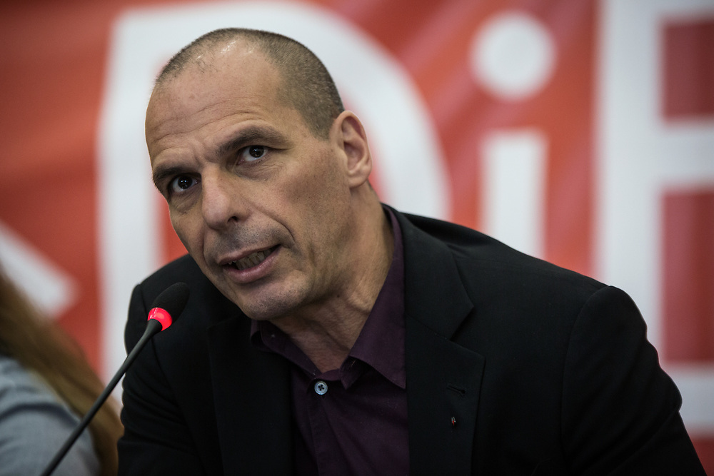 Yanis Varoufakis and representatives of the Thessaloniki DIEM25 (The Democracy in Europe Movement 2025) team during a press conference at Vellidio Conference Center, in Thessaloniki, Greece on April 28, 2017.