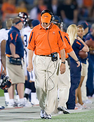 Virginia head coach Al Groh on the sidelines against UCONN.  The Connecticut Huskies defeated the Virginia Cavaliers 45-10 in NCAA football at Rentschler Field in East Hartford, CT on September 13, 2008.