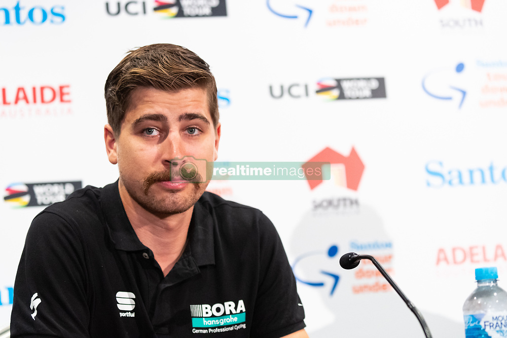 January 12, 2019 - Peter Sagan at TDU Official Race Press Conference, with Mike Turtur, TDU Race Director, Daryl Impey (Mitchelton-SCOTT) 2018 TDU Champion, Peter Sagan (BORA-hansgrohe), Richie Porte (Trek-Segafredo) & Caleb Ewan (Lotto-Soudal), Tour Down Under, Australia on the 12 of January 2019  (Credit Image: © Gary Francis/ZUMA Wire)
