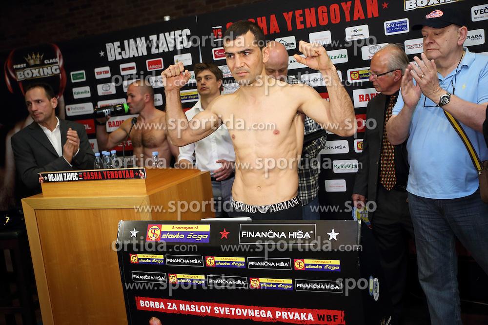 Sasha Yengoyan during official weighing of boxers Dejan Zavec alias Jan Zaveck of Slovenia and Sasha Yengoyan of Belgium, on April 10, 2015 in Hotel Primus, Ptuj, Slovenia. Photo by Crtomir Goznik / Sportida