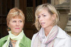 © licensed to London News Pictures. LOCATION, UK , Westminster.13-06-11.Today, three mothers of missing children - Kate McCann, Nicki Durbin and Sarah Godwin - Will give evidence at the UK's First ever Parliamentary Inquiry into the rights of families of missing People. ..Pictured:.Sarah Godwin - Kate McCann...Please see special instructions for usage rates. Photo credit should read Tim Roberts/LNP