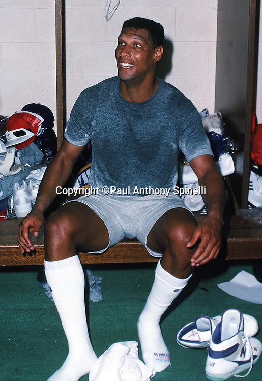 The National Football Conference Minnesota Vikings safety Joey Browner (47) talk in the locker room after practice during the week of the 1989 NFL Pro Bowl football game against the American Football Conference on Jan. 24, 1989 in Honolulu. The NFC won the game 34-3. (©Paul Anthony Spinelli)