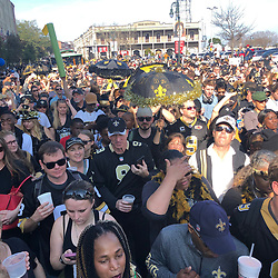 Feb 3, 2019; New Orleans, LA, USA; New Orleans Saints fans celebrate in the streets as they boycott the Super Bowl being played in Atlanta Georgia. Mandatory Credit: Derick E. Hingle-USA TODAY Sports