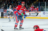 KELOWNA, CANADA - MARCH 7: Liam Stewart #11 of Spokane Chiefs skates against the Spokane Chiefs on March 7, 2015 at Prospera Place in Kelowna, British Columbia, Canada.  (Photo by Marissa Baecker/Shoot the Breeze)  *** Local Caption *** Liam Stewart;