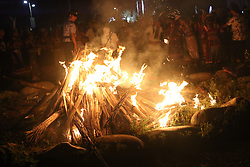 June 14, 2018 - Longnan, Longnan, China - Longnan, CHINA-14th June 2018: People attend a bonfire party at Baima Folk Tourism Festival in Wenxian County, Longnan, northwest China's Gansu Province, June 14th, 2018. (Credit Image: © SIPA Asia via ZUMA Wire)