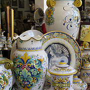 Ceramics display in showroom of Gialletti Giulio in Deruta, Italy