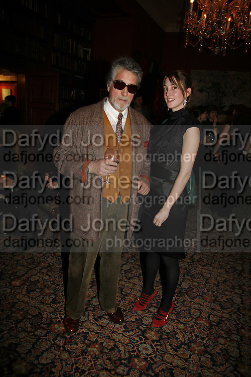 JUSTIN DE VILLENEUVE AND HIS DAUGHTER POPPY DE VILLENEUVE, Sir Peter Blake and Poppy De Villeneuve host a party with University of the Arts London at the Arts Club, Dover Street, London. 20 APRIL 2006<br />
