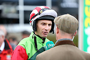 Jockey DANNY COOK being interviewed on ITV Racing prior to winning The Class 1 bet365 Charlie Hall Steeple Chase over 3m (£100,000) on DEFINITLY RED during the Bet365 Meeting at Wetherby Racecourse, Wetherby, United Kingdom on 3 November 2018. Picture by Mick Atkins.