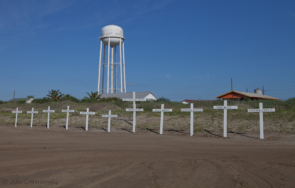 Grand Isle Louisiana, April 20th 2012, A memorial made of wooden crosses for the eleven men who died when Deep Water Horizon rig blew up on the two year anniversary of the BP oil spill on the beach.