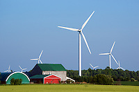 Large (80m) wind turbines surround a farm in Bruce County Ontario, Canada. Local residents claim to be suffering from various health issues since the introduction of over 110  of the turbines in area.