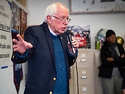 06 DECEMBER 2019 - DES MOINES, IOWA: US Senator BERNIE SANDERS (I-VT) talks to campaign volunteers during a volunteer training session in Des Moines Friday. As the date of the Iowa caucuses approaches, many of the campaigns are ramping up their voter outreach efforts. The event was part of Sanders' campaign to be the Democratic presidential nominee in 2020. Iowa hosts the first selection event of the presidential election cycle. The Iowa Caucuses are Feb. 3, 2020.      PHOTO BY JACK KURTZ
