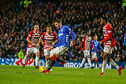 Kyle Lafferty of Rangers shoots for goal during the Ladbrokes Scottish Premiership match between Rangers and Hamilton Academical FC at Ibrox, Glasgow, Scotland on 16 December 2018.