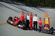 September 3-5, 2015 - Italian Grand Prix at Monza: Sebastian Vettel (GER), Ferrari, Kimi Raikkonen (FIN), Ferrari, Maurizio Arrivabene, team principal of Scuderia Ferrari and Shell execs on the Old Monza banking