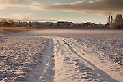Snowfield lit by the early morning sun in a field at Wickets Farm near Wembdon in Somerset.