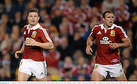 11 June 2013; Brian O'Driscoll, left, and Jamie Roberts, British & Irish Lions. British & Irish Lions Tour 2013, Combined Country v British & Irish Lions, Hunter Stadium, Newcastle, NSW, Australia. Picture credit: Stephen McCarthy / SPORTSFILE