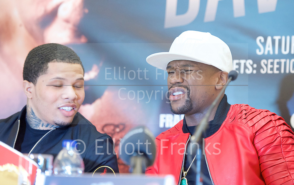 Floyd Mayweather Jr & Frank Warren press conference at The Savoy Hotel, London, Great Britain <br /> 7th March 2017 <br /> <br /> <br /> <br /> Gervonta Davis <br /> (an American professional boxer who has held the IBF junior lightweight title since January 2017)<br /> <br /> Floyd Joy Mayweather Jr. is an American former professional boxer who competed from 1996 to 2015 and currently works as a boxing promoter. <br /> <br /> 