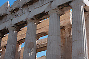 ATHENS, GREECE - APRIL 10 : A low angle view of the two-storey colonnade of the Parthenon, on April 10, 2007, in Athens, Greece. The Parthenon was built on the Acropolis, in the 5th century BC, in the Doric Order with Ionic features. It was completed about 432 BC by the architects Ictinus and Callicrates and was dedicated to Athena. (Photo by Manuel Cohen)