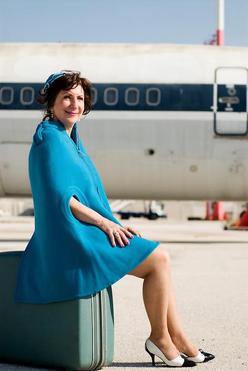 Vaso Papakou writer and former Olympic Airways stewardess for Tahidromos magazine - Greece
