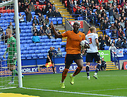 Benik Afobe celebrates his goal to go 2-1 down from the penalty spot during the Sky Bet Championship match between Bolton Wanderers and Wolverhampton Wanderers at the Macron Stadium, Bolton, England on 12 September 2015. Photo by Mark Pollitt.