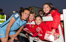 Jill Scott of Manchester City Women poses for a photo with young Bristol City women fans - Mandatory by-line: Paul Knight/JMP - 09/05/2017 - FOOTBALL - Stoke Gifford Stadium - Bristol, England - Bristol City Women v Manchester City Women - FA Women's Super League Spring Series