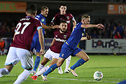 AFC Wimbledon midfielder Scott Wagstaff (7) dribbling during the EFL Carabao Cup 2nd round match between AFC Wimbledon and West Ham United at the Cherry Red Records Stadium, Kingston, England on 28 August 2018.