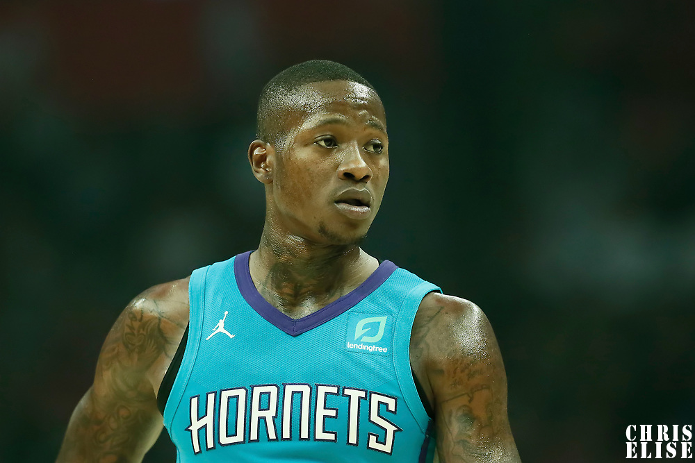 LOS ANGELES, CA - OCT 28: Terry Rozier (3) of the Charlotte Hornets rests during a game on October 28, 2019 at the Staples Center, in Los Angeles, California.