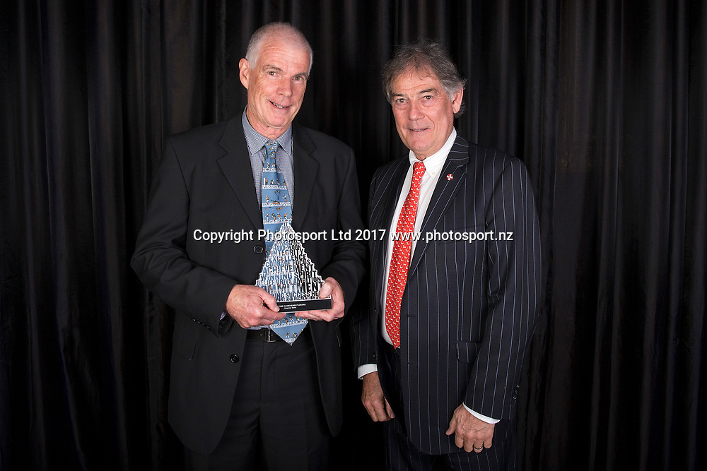 A Lifetime Achievement Award was presented to Graeme Steel (L) by Dave Howman at the NZ Sport & Recreation Awards Dinner, The Langham, Auckland, New Zealand, Monday, May 29, 2017. Copyright photo: David Rowland / www.photosport.nz