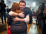 28 JANUARY 2020 - OSCEOLA, IOWA: PETE BUTTIGIEG hugs a supporter after speaking at a campaign event at the Clarke County Fairgrounds in Osceola, about 50 miles south of Des Moines. Buttigieg talked to a crowd of about 130 people in Osceola. Buttigieg, the former mayor of South Bend, Indiana, is running to be the Democratic nominee for President in the 2020 election. Iowa traditionally holds the first presidential selection event of the 2020 election cycle. The Iowa Caucuses are on Feb. 3, 2020.     PHOTO BY JACK KURTZ