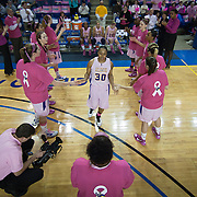 02/05/12 Newark DE: Delaware Junior Guard #30 Trumae Lucas is introduced to the crowed prior to the start of a Colonial Athletic Association conference Basketball Game against the VCU Lady Rams, Feb. 5, 2012 at the Bob carpenter center in Newark Delaware.<br /> <br /> Special to The News Journal/SAQUAN STIMPSON.