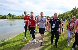 LYON, FRANCE - Wednesday, July 6, 2016: Wales' goalkeeper Wayne Hennessey, Chris Gunter and Gareth Bale on a pre-match walk near their team hotel before the UEFA Euro 2016 Championship Semi-Final match against Portugal. (Pic by David Rawcliffe/Propaganda)