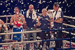 Slovenian boxer Dejan Zavec alias Jan Zaveck alias Mr. Simpatikus fights Ferenc Hafner, HUN during the WBO-European Champion Title, on October 17, 2014 in Arena Tabor, Maribor, Slovenia. Photo by Gregor Krajncic / Sportida.com
