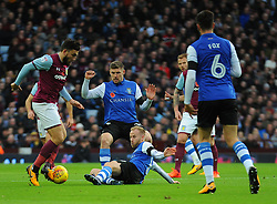 Barry Bannan of Sheffield Wednesday tackles Robert Snodgrass of Aston Villa- Mandatory by-line: Nizaam/Jones - 04/11/2017 - FOOTBALL - Villa Park - Birmingham, England - Aston Villa v Sheffield Wednesday - Sky Bet Championship