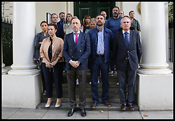 August 18, 2017 - London, United Kingdom - Staff at the Spanish Embassy in London, observe a minute of silence following the terror attacks killing 13 and wounding over 100 people in the busy tourist street of Las Ramblas, Barcelona on Thursday 17th August involving Islamic militants using a van in the terror attack. (Credit Image: © Dinendra Haria/i-Images via ZUMA Press)