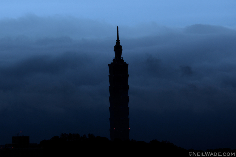 A storm rolls by Taipei 101 in Taipei, Taiwan.