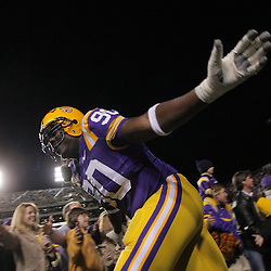 15 November 2008: LSU defensive tackle Ricky Jean-Francois (90) interacts with fans during pregame introductions of the NCAA football game between the Troy Trojans and the LSU Tigers at Tiger Stadium in Baton Rouge, LA.