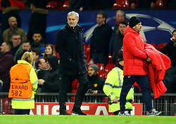Manchester United manager Jose Mourinho cuts a frustrated figure after his side are knocked out of the Champions League by Sevilla - Mandatory by-line: Robbie Stephenson/JMP - 13/03/2018 - FOOTBALL - Old Trafford - Manchester, England - Manchester United v Sevilla - UEFA Champions League Round of 16 2nd Leg