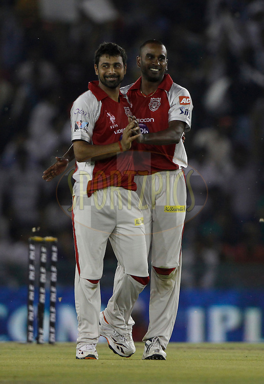 Kings XI Punjab player Dimitri Mascarenhas celebrates the wicket of Pune Warriors player Robin Uthappa during match 14 of the the Indian Premier League ( IPL) 2012  between The Kings X1 Punjab and The Pune Warriors India held at the Punjab Cricket Association Stadium, Mohali on the 12th April 2012..Photo by Pankaj Nangia/IPL/SPORTZPICS