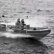 """NLD/Huizen/19910406 - Proefvaart nieuwe reddingsboot """"de Gooijer """" Huizer reddingsbrigade Huizen"""