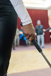 December 21, 2017 - Sevilla, Spain - WWE Superstar Alicia Fox participates in a non-lethal weapons training and self-defense demonstration with U.S. Air Force Security Forces as part of a troop engagement during the Chairmans USO Holiday Tour at Moon Air Base Dec. 21, 2017. .(Credit Image: