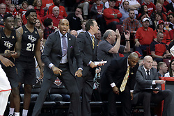 20 March 2017:  Knights coaching staff during a College NIT (National Invitational Tournament) 2nd round mens basketball game between the UCF (University of Central Florida) Knights and Illinois State Redbirds in  Redbird Arena, Normal IL<br /> <br /> Jamill Jones left most coach