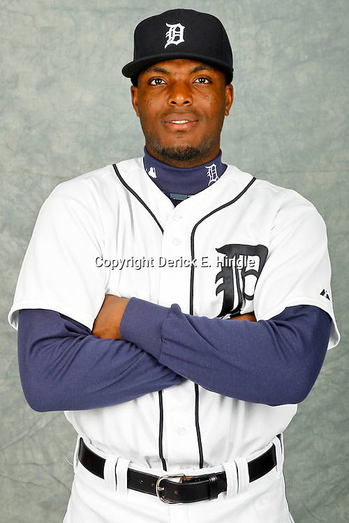February 28, 2012; Lakeland, FL, USA; Detroit Tigers shortstop Audy Ciriaco (65) poses for photo day in the rec room at the Detroit Tigers Headquarters.  Mandatory Credit: Derick E. Hingle-US PRESSWIRE