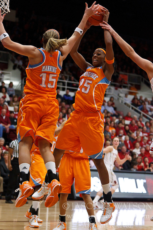 Dec 20, 2011; Stanford CA, USA;  Tennessee Lady Volunteers forward Glory Johnson (25) grabs a rebound against the Stanford Cardinal during the second half at Maples Pavilion.  Stanford defeated Tennessee 97-80. Mandatory Credit: Jason O. Watson-US PRESSWIRE