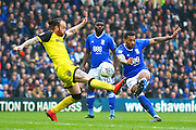 Birmingham's David Davis see his shot at goal hit the bar and go over during the EFL Sky Bet Championship match between Birmingham City and Burton Albion at St Andrews, Birmingham, England on 7 April 2018. Picture by John Potts.