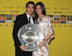 14.05.2011, U-Haus, Dortmund, GER, 1.FBL, Borussia Dortmund Meisterbankett im Bild Nuri sahin mit  Meisterschale  und Ehefrau Tugba und Meisterschale //   German 1.Liga Football ,  Borussia Dortmund Championscelebration, Dortmund, 14/05/2011 . EXPA Pictures © 2011, PhotoCredit: EXPA/ nph/  Conny Kurth       ****** out of GER / SWE / CRO  / BEL ******