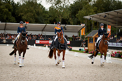 Podium U25, Nieuwenhuis Jeanine, Van der Vlist Maxime, Huijbregts Jill, NED<br /> Nederlands Kampioenschap Dressuur <br /> Ermelo 2018<br /> © Hippo Foto - Dirk Caremans<br /> 29/07/2018