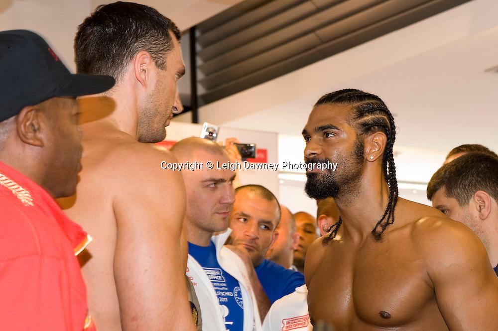 Friday 1st July 2011. David Haye & Wladimir Klitschko at the Official Weigh In, Hamburg before for the WBA, WBO & IBF Heavyweight Title. Photo credit: Leigh Dawney 2011